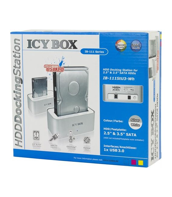 "ICYBOX IB-111StU3-Wh Docking station 2.5/3.5"" SATA Hot-Swap, USB 3.0"
