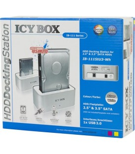 "Mer om ICYBOX IB-111StU3-Wh Docking station 2.5/3.5"" SATA Hot-Swap, USB 3.0"