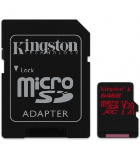Kingston 64 GB Canvas React microSD, UHS-1, V30