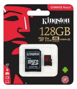 Kingston 128 GB Canvas React, microSDXC, 100/80 MBs