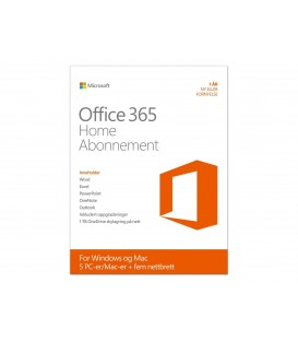 Microsoft Office 365 Home 32/64bit, norsk, ab. 1 år, 5 PC